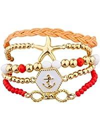 LUX accesorios naranja y rojo estrella de mar náuticas Anchor brazo Candy set (5 piezas