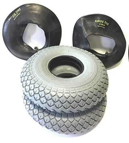 Rolko Lot de 2 pneus de Fauteuil Roulant 4.00-5, Gris, 2 tuyaux de Valve d'angle Pneu Puissant profilé de Blocage Stable 4 pneus, Fauteuil Roulant pour Scooter, Fauteuil Roulant électrique de qualité