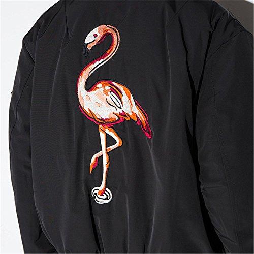 Bomber Jacke Bomberjacke Blouson Oberteil Top Mit Reißverschluss Vorne Zip Up Bestickte Flamingo Hinten Schwarz - 3