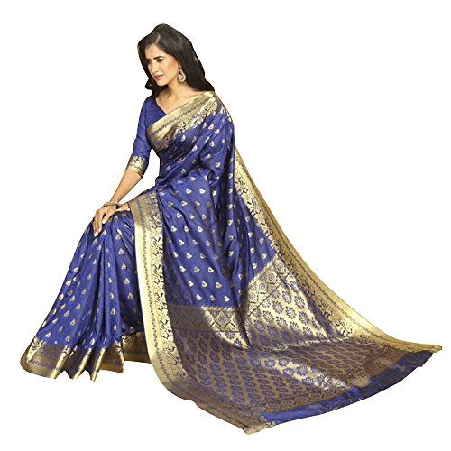 2fc66ab0af459a Craftsvilla Women s Bangalore Silk Zari work Blue Saree with unstitched  Blouse piece