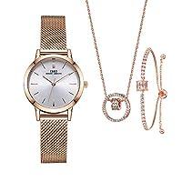 Women Watches Sets Gifts for Women Mom Wife Quartz Wrist Watch Necklace Bracelet Set (3630RG SL006 DZ0004)