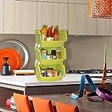 #6: Klaxon Plastic Storage Racks - 3 Tier Fordable Multipurpose Kitchen Rack / Bathroom Storage Stand - Green