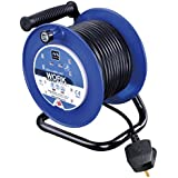 Masterplug Four Socket Medium Open Cable Reel Extension Lead with Handle, 25 Metres, Blue