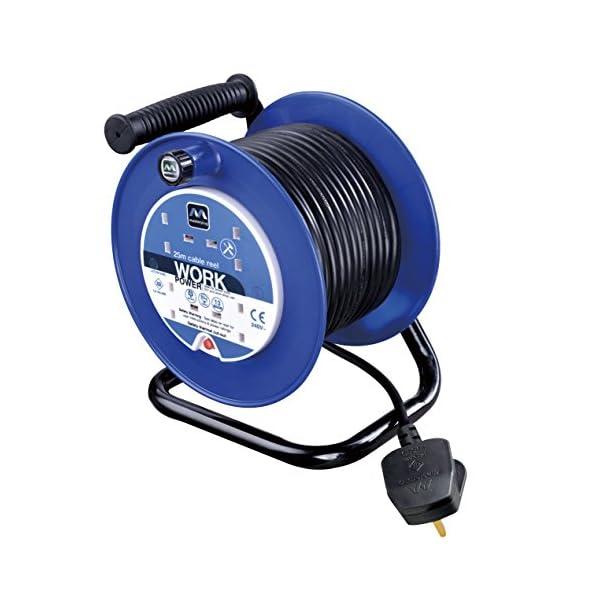 Masterplug LDCC2513/4BL 13amp 4 Socket 25m Open Cable Reel – Blue 51t96hnBRPL