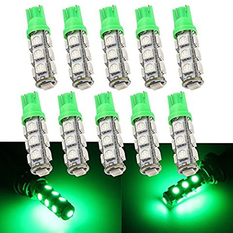 Grandview Green T10 W5W 501 194 168 2825 LED Wedge 5050 13 SMD LED Car Light Bulbs Super Bright 12V Replacement Bulbs Side Map Interior rear tail trunk Lamps 10-Pack