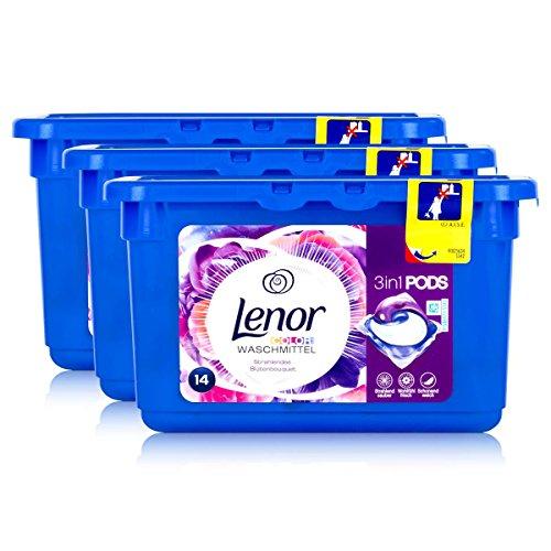 Lenor 3in1 Pods Strahlendes Blütenbouquet Color Waschmittel 369,6g - 14 WL (Pack of 3)