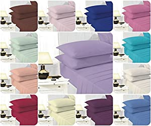 Voice7 EASY CARE Non-Iron Plain Sheets Set (Fitted Sheet + Flat Sheet + Pair of Pillowcases) ~ SUPER POLYCOTTON ~ 20 COLORS & UK SIZES