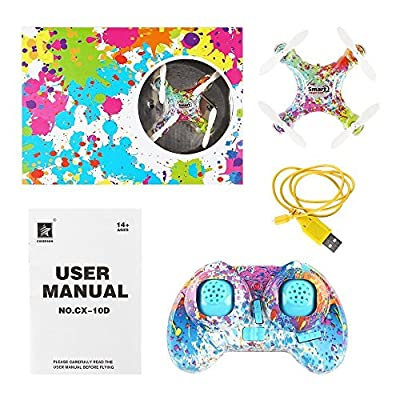 SainSmart Jr. CX-10D Nano RC RTF Quadcopter with Air Pressure Altitude Hold, Stunt 3D Flip, One Key Take Off/Landing, LED Flash Light and 3 Speed Fly
