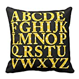 Home Decorative Yellow and White Polka Dots English Alphabet Square Throw Pillow Cases Personalized Cushion Covers 18X18 inch