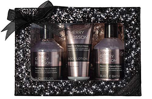 BRUBAKER Beautyset Cherry Blossom Skin + Spa - 4 tlg. Bade- und Duschset mit Kirschblüten Duft in Glitzer Geschenkbox Schwarz + Kosmetiktasche