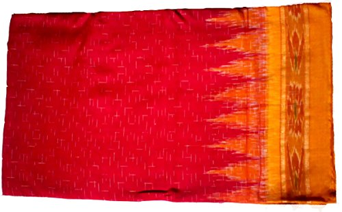 Sambalpuri Ikat cotton Saree(Red with Yellow colour Achal)