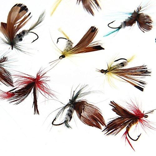 12Fliegen Fliegen Köder Angeln Werkzeug Haken zufällige Farbe praktisch Langlebig Hochwertig sortiert Forelle Neu