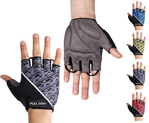 FULL GRIP Halbfinger Fahrradhandschuhe für Männer & Frauen mit stoßdämpfender, Rutschfester und widerstandsfähiger Handinnenfläche für den Radsport inkl. gratis Trainings E-Book (Grau, M)