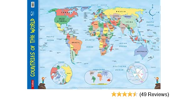 Tomtom Australia Map 915.Countries Of The World Wall Map Collins Primary Atlases Amazon