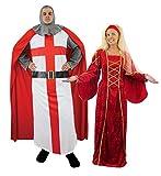 Déguisement de couple médieval avec pour homme un costume de chevalier ainsi qu'une longue robe en velour + une coiffe pour femme. Ideal pour les enterrements de vie de garçon.