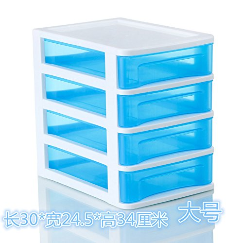 MEICHEN-Home Cucina Camera da letto dimensioni queen cabinet per conservazione e armadio con cassetti Petto casella storage desktop in plastica cassetto comodino,blu, medio