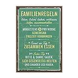 TypeStoff Holzschild mit Spruch – FAMILIENREGELN – im Vintage-Look mit Zitat als Geschenk und Dekoration Zum Thema Familie und Freizeit (19,5 x 28,2 cm)