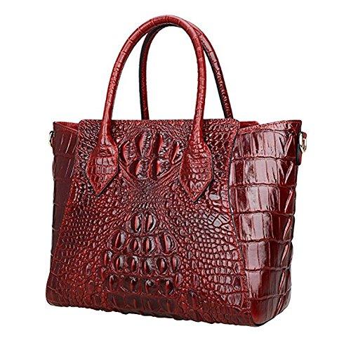 Jsix Borsa in Vera Pelle Borse Tote Donna Croc Paten Designer a spalla con tracolla staccabile Rosso