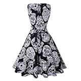 Halloween Custom Skull Pumpkin Print Cintura sin Mangas Que Adelgaza el Vestido de la Llamarada Vintage Dress