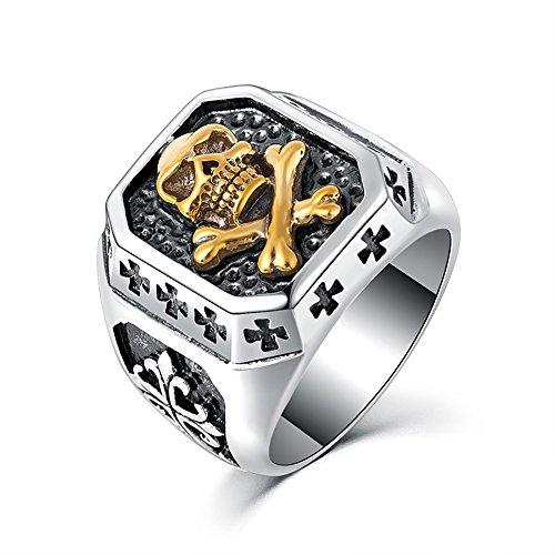 BOBIJOO Jewelry - Bague Chevalière Tête de Mort Argenté Or Croix Templiers Acier Inoxydable Biker - 60 (9 US), Acier inoxydable 316 - Doré or fin