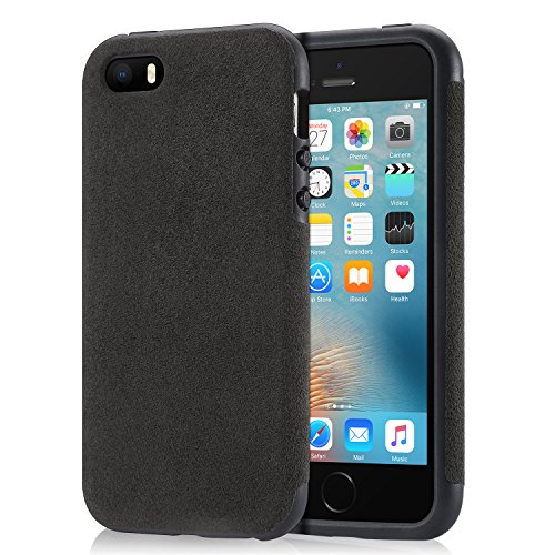 Mthinkor iPhone SE Hülle Robuste TPU Bumper Shockproof Drop Schutz Luxus Alcantara Decken Fall für iPhone SE iPhone 5S und iPhone 5 (Schwarz) (Luxus Iphone 5 Fall)