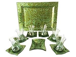 Türkisches Tee-Gläser-Servier-Set Antike Grün, 20 Tlg mit Glas-Serviertablett 28,5 x 18,5 cm, Glas Unterteller, Glas Zuckerschale und Rührlöffel aus Glas
