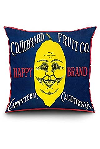 Happy Lemon - Vintage Crate Label (20x20 Spun Polyester Pillow Case, Custom Border)