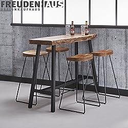 Stehtisch Bartisch Set Wood Akazie Industrial + 4 Barhocker Baumkante