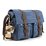 Koolertron Vintage Canvas Large Unisex Leather Trim School Military Messenger Shoulder Bag (Blue)