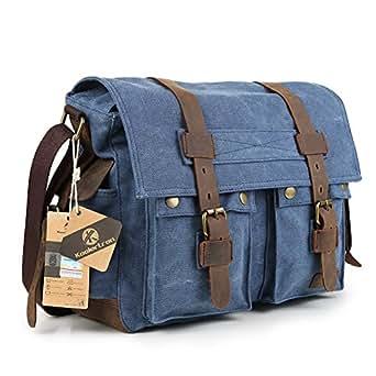 Koolertron Vintage Canvas Large Unisex Leather Trim School Military Messenger Shoulder Bag (Blue)