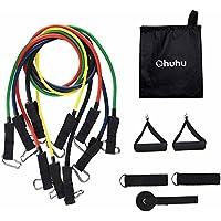 Ohuhu® - Banda de resistencia, juego de bandas de fitness elásticas con 5 tubos de alta calidad Stretch, porta anclajes, hebilla de tobillo, cuadro de ejercicios, y bolsa de transporte incluida para pilates, yoga, etc.