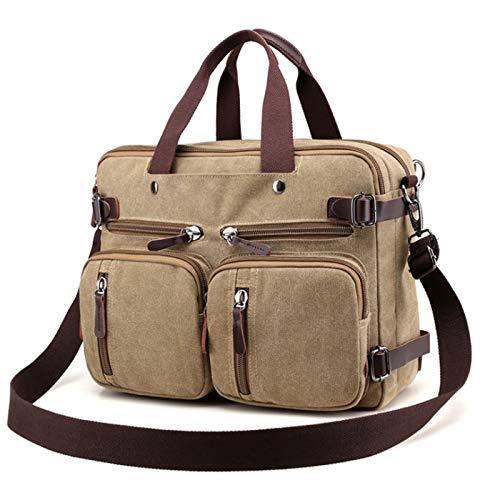 CZZ Retro Geschäfts-Segeltuch-Wasserdichte Computer-Tasche, Multi-Taschen-Computer-Tasche mit großer Kapazität Brief Aktentasche der Männer , Für Geschäftsreisen (Farbe : Khaki) -