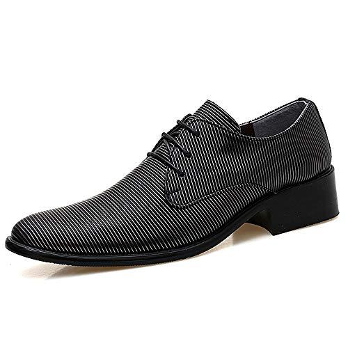 TONGDAUR Herrenmode Oxford Casual Persönlichkeit Streifen Textur Komfortable Low-top Formelle Schuhe Fahren Schuhe Lederschuhe für Herren (Color : Schwarz, Größe : 40 EU) - Braune Streifen Schneiden