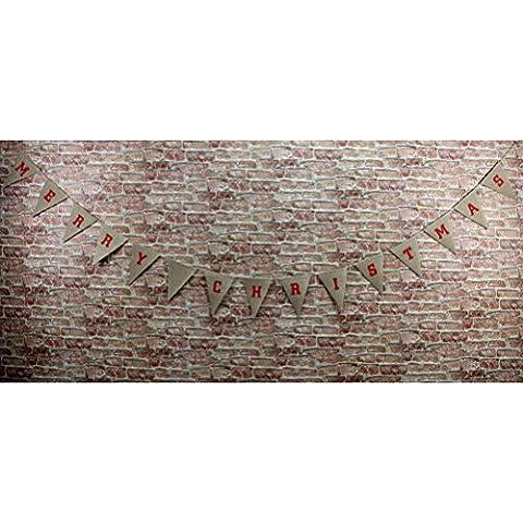 NUOLUX Buon Natale modello della tela di iuta Bunting Banner rustico matrimonio (Bunting Modello)