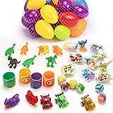 JamBer 36 Juguetes llenos de Huevos de, Huevos de Plástico Precargados de Colores Brillantes con 5...