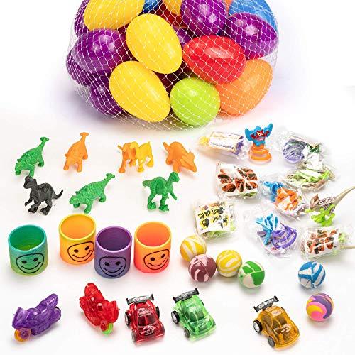 JamBer 36 pack El valioso juego de huevos de Pascua incluye todo lo que necesitas para crear una divertida e inolvidable búsqueda de huevos de Pascua.  Los huevos de Pascua brillantes y coloridos son muy fáciles de manejar y abrir para los niños.  C...