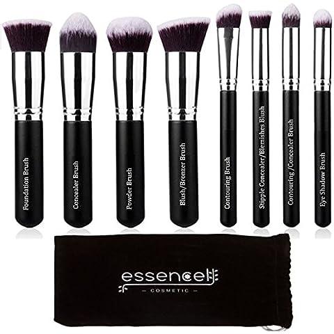 Essencell maquillaje cepilla premium sintético del maquillaje de Kabuki de cepillo cosméticos - Fundación, polvo, mezcla Blush bronceador, Corrector Contorno, kit de cepillo de sombra de ojos (8pcs, Negro astilla)