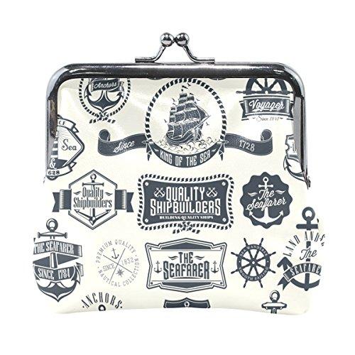 Coosun Vintage Retro nautischen Dachs und Etiketten Leder Geldbörse Snap Verschluss Kupplung Münze Brieftasche (Vintage Retro Snap)