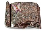 MEMORUM Grabmale Grabbuch, Grabplatte, Grabstein, Grabkissen, Urnengrabstein, Liegegrabstein Modell Prestige 40 x 30 x 8-9 cm Paradiso-Granit, Poliert inkl. Gravur (Bronze-Color-Ornament Papillon 1)