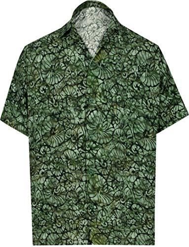 HAPPY BAY 3D hd Hawaii-Hemd für Männer Knopf Kurze Ärmel verteilen Kragen Urlaub Partei lässig Aloha Arbeiten olivgrün_AA158 XL- (in cms):121-132