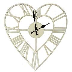 Idea Regalo - Orologio da parete a forma di cuore in stile antico shabby chic in metallo, 35 cm