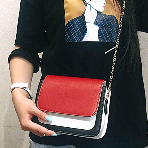 Moda Donna Pu Pelle Catena Borsa Crossbody Spalla Borsa Messenger Telefono Borsa di Kangrunmy Rosso