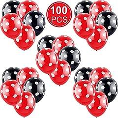 Idea Regalo - Gejoy 100 Pezzi Nero con Pois Bianchi e Rosso con Palloncini Bianchi a Pois per Diverse attività, Matrimoni, Celebrazione, Feste, Compleanni, Decorazioni per Feste