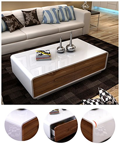 Ospi white walnut high gloss extendable living room furniture sets tv stand coffee table Walnut effect living room furniture
