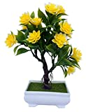 #10: Discount4product Artificial Flowers Artificial Plant Trees Bonsai with Pot Home Decors Vases Decoration flower-yellow-h2