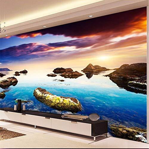 Gwgdjk Benutzerdefinierte Große Fresko Tapete 3D Bunten Blick Auf Das Meer Bimsstein Wand Hintergrund Wand Wohnzimmer Tapete De Parede-280X200Cm (112 * 80Inch)