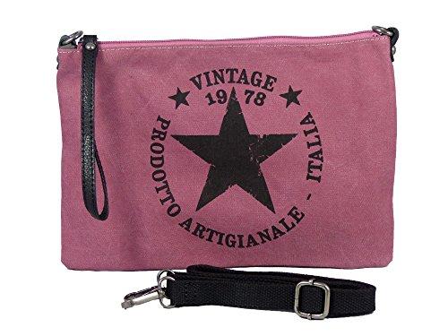 Umhängetasche Canvas Style - Aufdruck Vintage Style - Maße 28 x 20 cm - Damen Mädchen Teenager Tasche mit verstellbaren Schulterriemen - verschiedene Farben Rosa