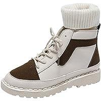 Zapatos para Mujer Botas TacóN Ancho Botines De Cordones Boots De Nieve Mujer Tachonado Piel TalóN TacóN Ancho Beladla