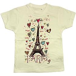 Recuerdos de France - Paris' diseño de corazones de la torre Eiffel ' Diseño de chicas T-de manga corta de mujer - De color blanco