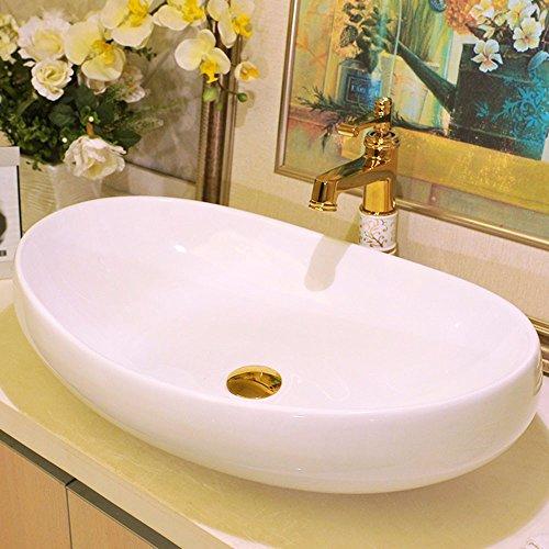 SEEKSUNG Aufsatzwaschbecken Tischplatte Keramik Keramik-Kunst Einfaches Weißes Bad Waschbecken Becken European Oval Waschbecken Basin